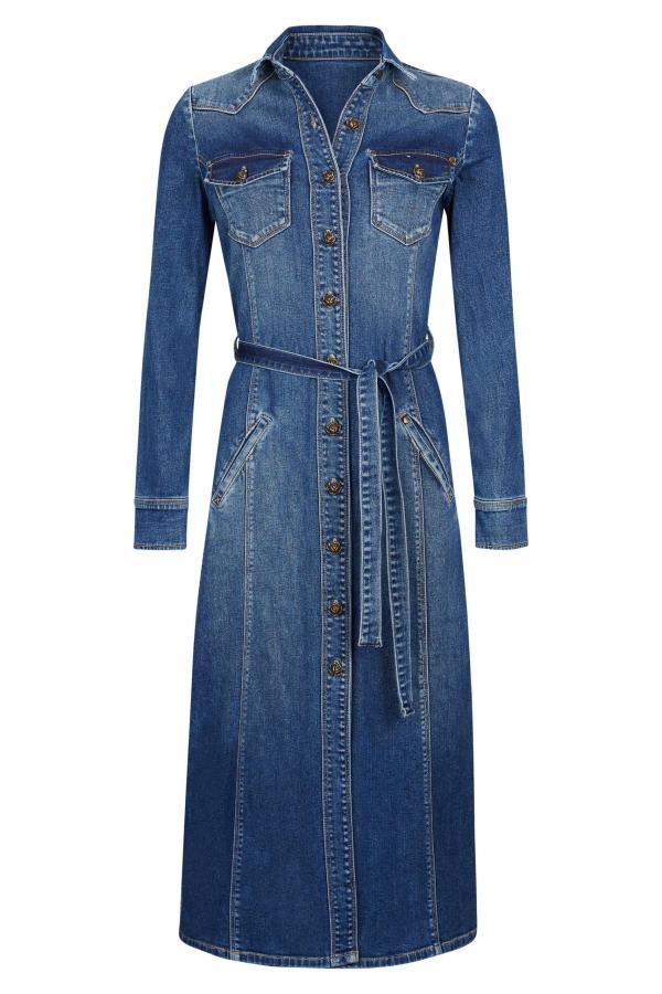 Long Coat Dark Denim – Blue