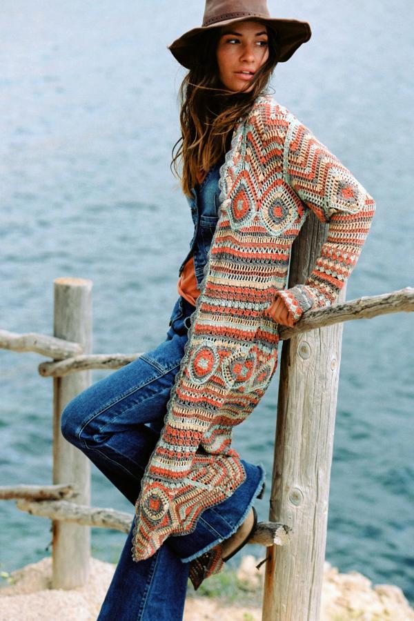Long Crochet Cardigan Amante - Orange