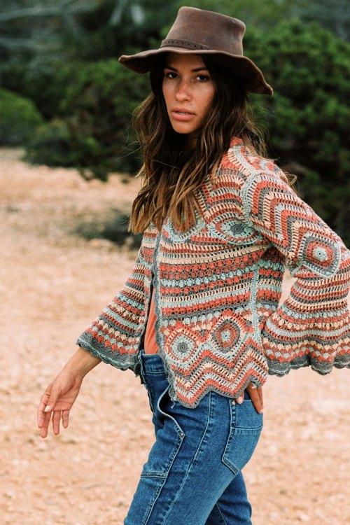Short Crochet Cardigan Amante – Orange