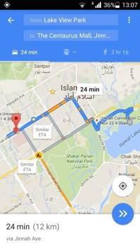 Google traffic feed for Islamabad