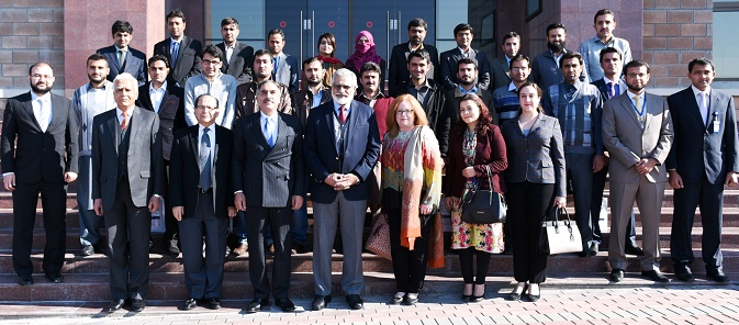 U.S. Embassy Pakistan's USAID Deputy Mission Director Cathy Moore and senior officials from HEC, NUST, and UET Peshawar with U.S.-Pakistan Centers for Advanced Studies students