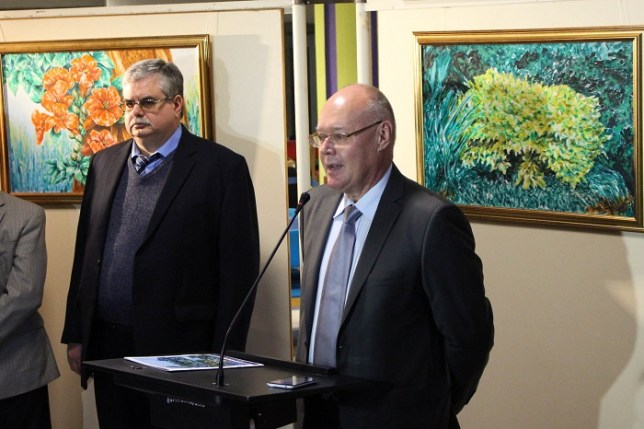 Russian diplomat Mr. Youri Kozlov at his painting exhibition in Islamabad. Photo by Sana Jamal