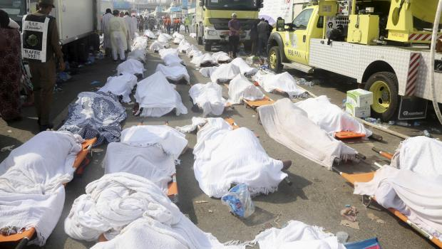 Bodies of Muslim pilgrims are seen after a stampede at Mina, outside the holy Muslim city of Mecca