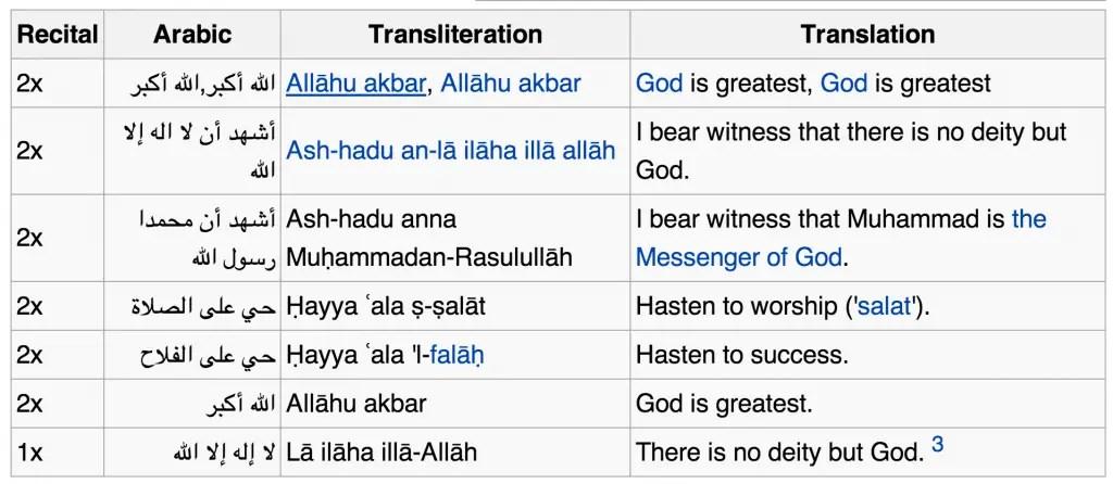 athan arabic