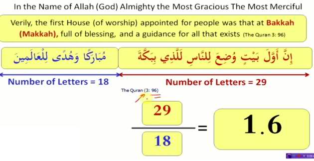 golden ratio in Quran