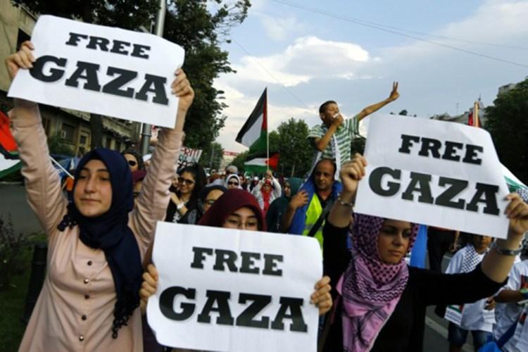 Musulmanes en una manifestación a favor de Gaza