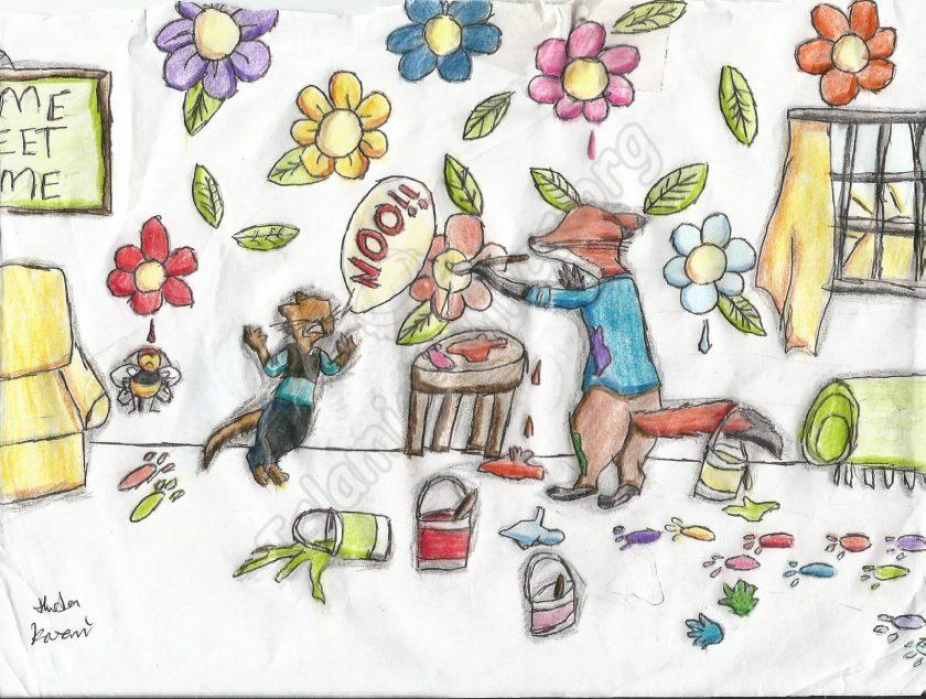 Illustration of Fox Painting All Over - Huda Kazmi, Age 11