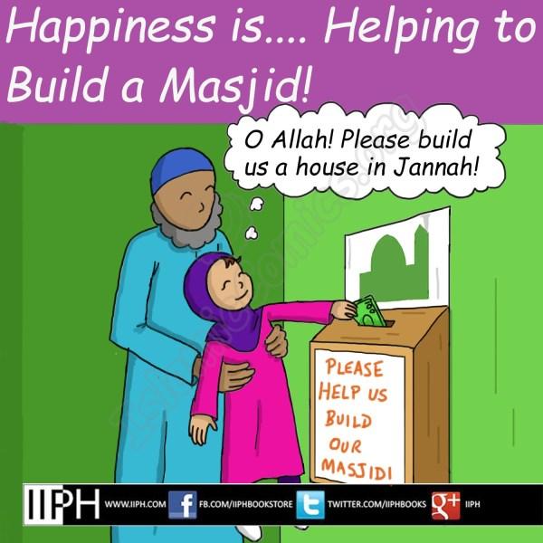 Happiness is helping build a Masjid - Islamic Illustrations (Islamic Comics)