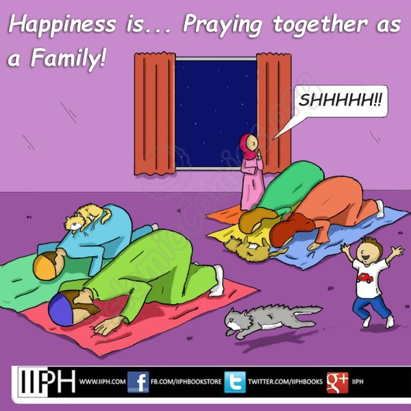 Happiness is... Praying Together as a Family - Islamic Illustrations (Islamic Comics)