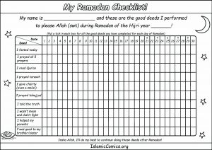 Ramadan Checklist - Islamic Worksheet for Kids
