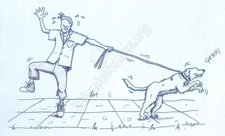 Talib Jan – attempting to walk a dog