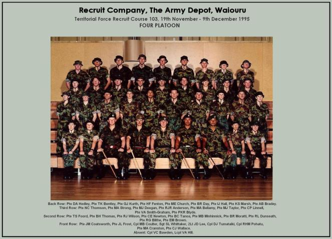 1995 Basic Intake 103 Platoon Photo — with Marsh Minhinnick and 35 others at Waiouru Military Camp.