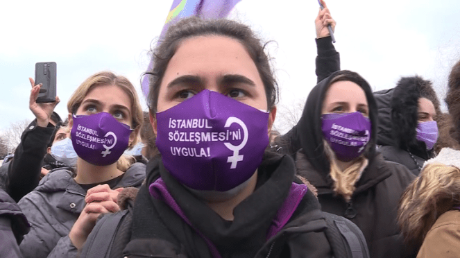 Hundreds protest Turkey withdrawing from international treaty to protect women