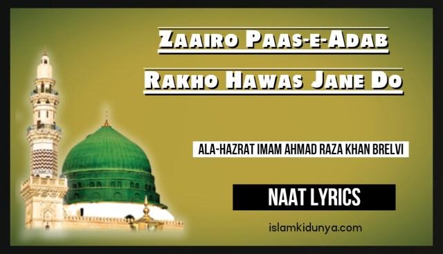 Zairo Paas-e-Adab Rakho Hawas Jane Do lyrics