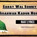 Saday Wal Sohniya Nigahwan Kadun Honiyan – Punjabi Naat Lyrics