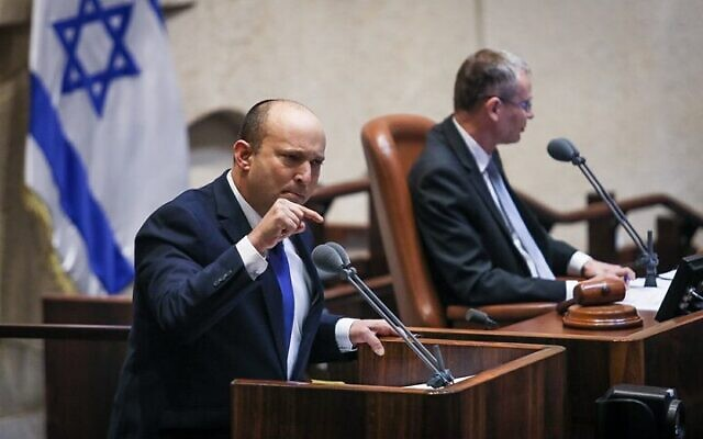 """Before the Knesset votes , Bennett pledges to continue settlements and threatens """"Hamas"""""""