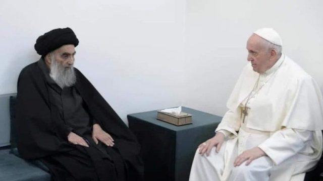 Ketika Paus Fransiskus Berdialog dengan Pemimpin Muslim Syi'ah Ayatollah Ali al-Sistani di Irak