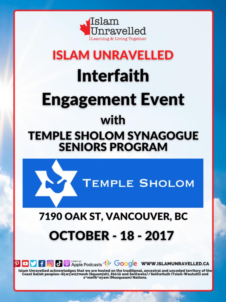 Interfaith Engagement Event: Temple Sholom Seniors Program