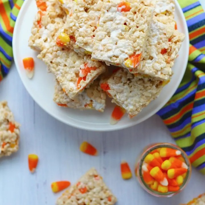 Browned Butter Candy Corn Rice Krispie Treats
