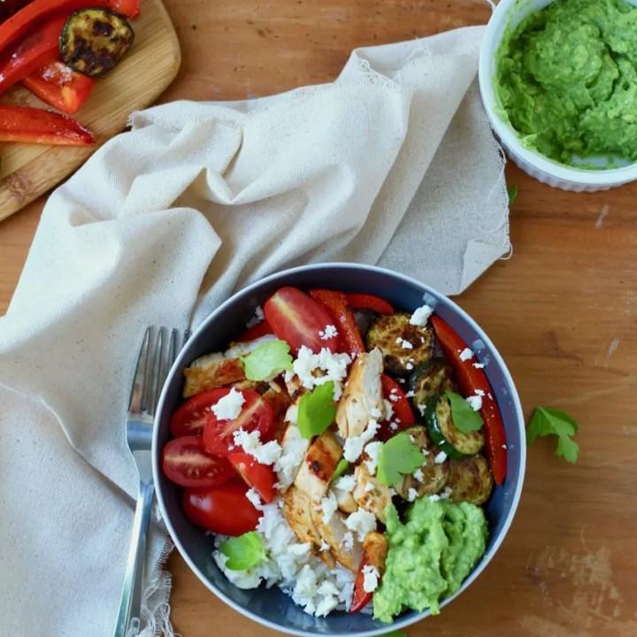 California Chicken, Veggie, Avocado and Rice Bowls