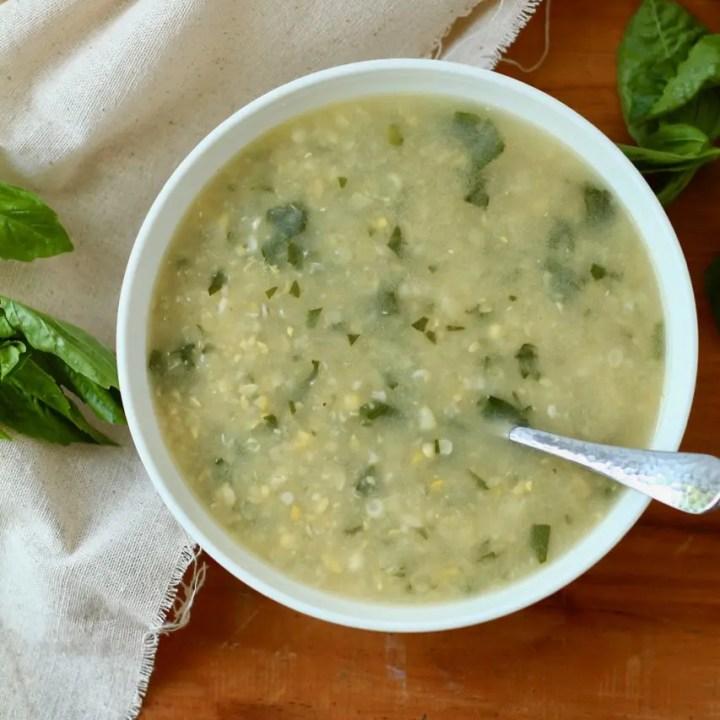 Fresh Corn Soup with Basil