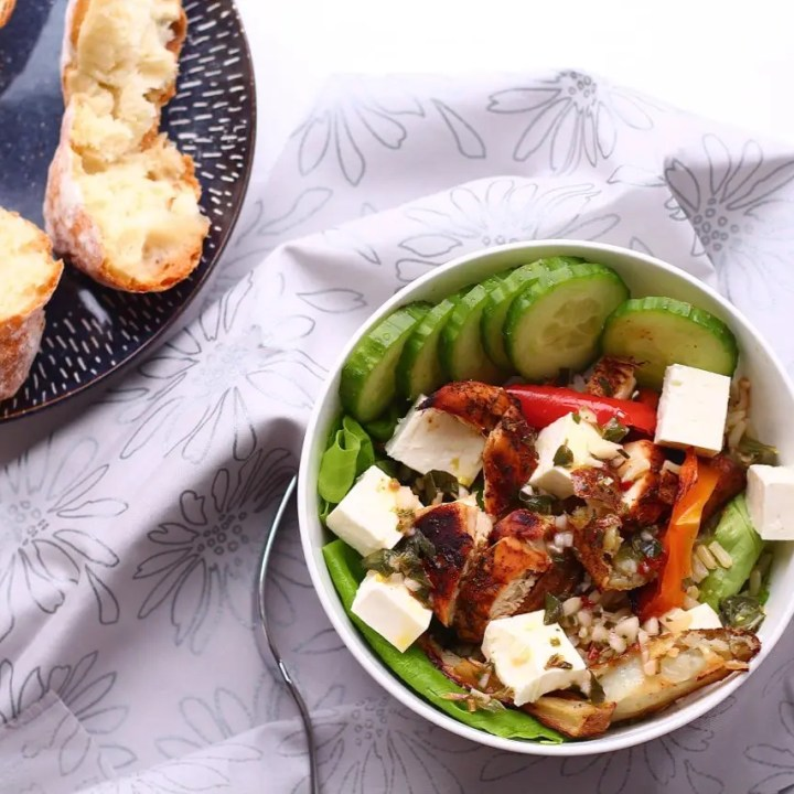 Roasted Greek Chicken and Brown Rice Salad