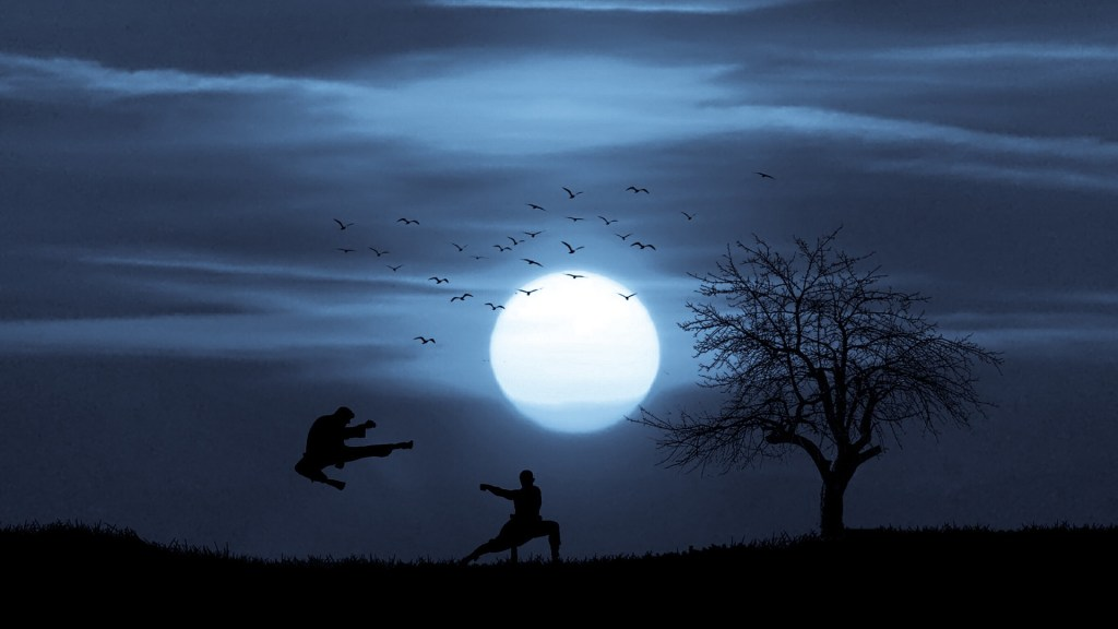 Picture: Sillhouette of two figures kung fu sparring with moon and tree in background