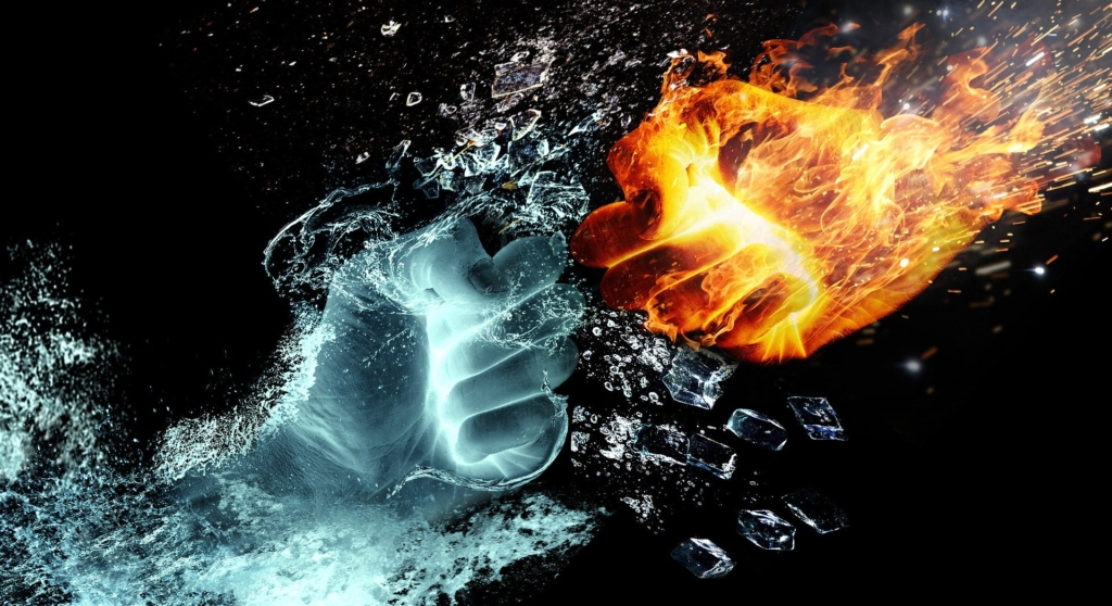 Image: Fist of fire clash against a fist of water