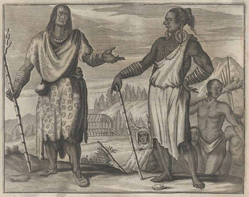 Drawing: Taiwanese aborigines depicted in Olfert Dapper (1670)