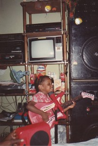 Me Rocking the Mic and Guitar