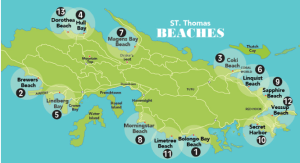 Map of St. Thomas Beaches