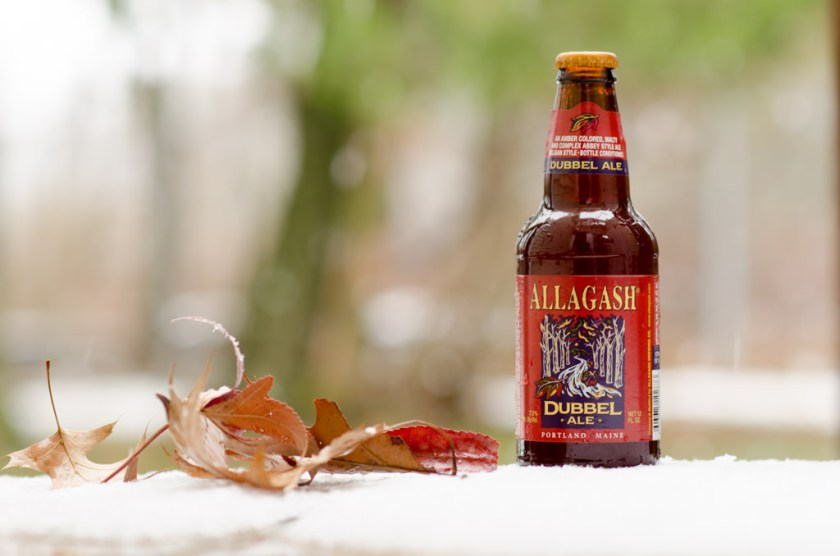 Allagash Dubbel Ale in the snow