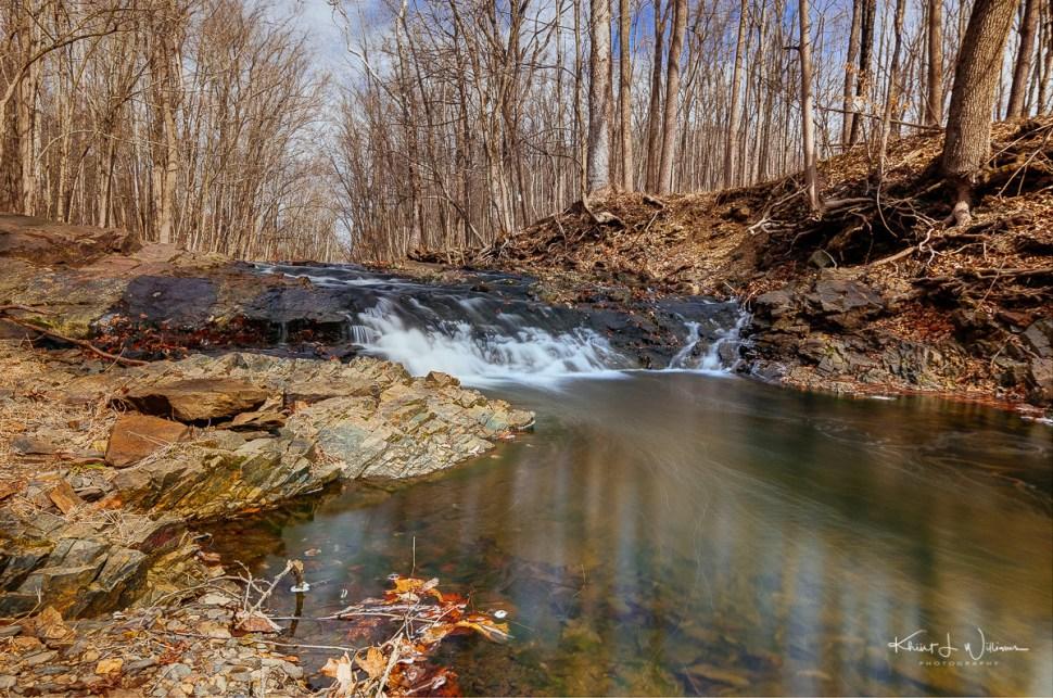 brook, water, trees, winter, rocks