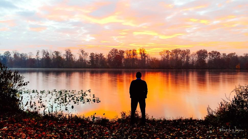 sunrise, man, silhouette, water, lake , morning