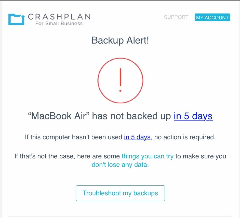 CrashPlan Notification Email