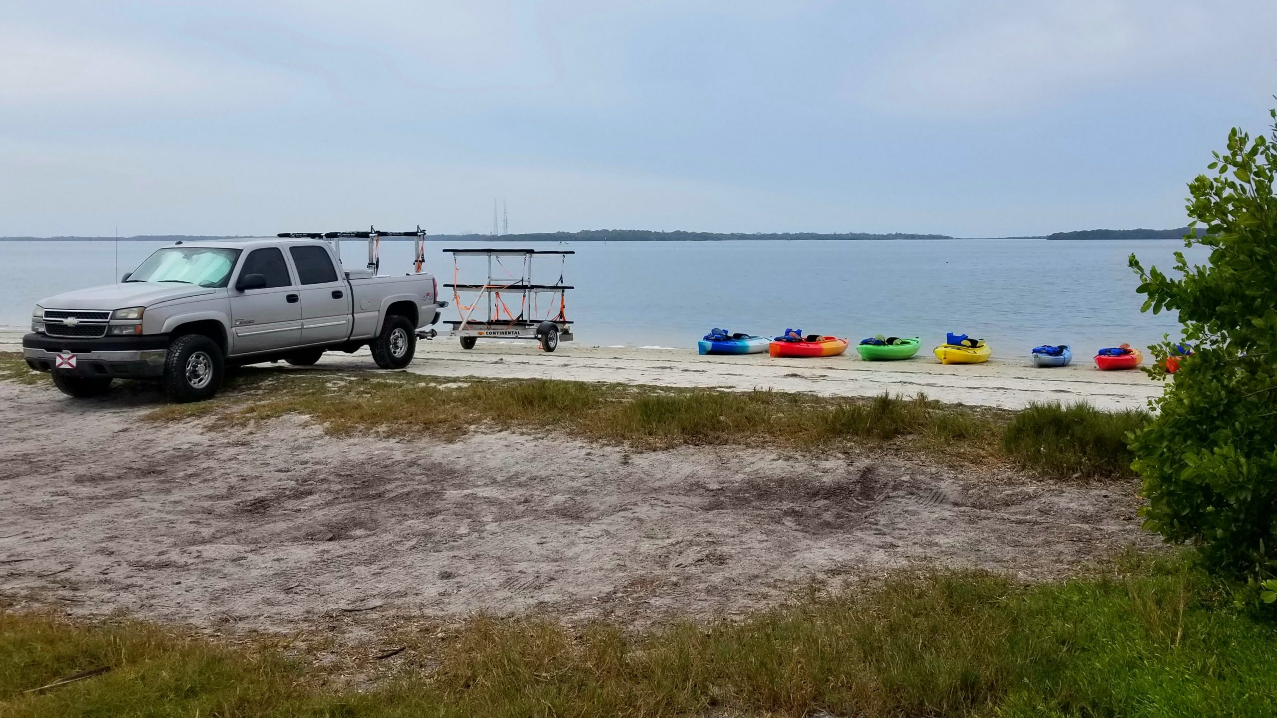 Set up at the launch site, ready for kayaking.