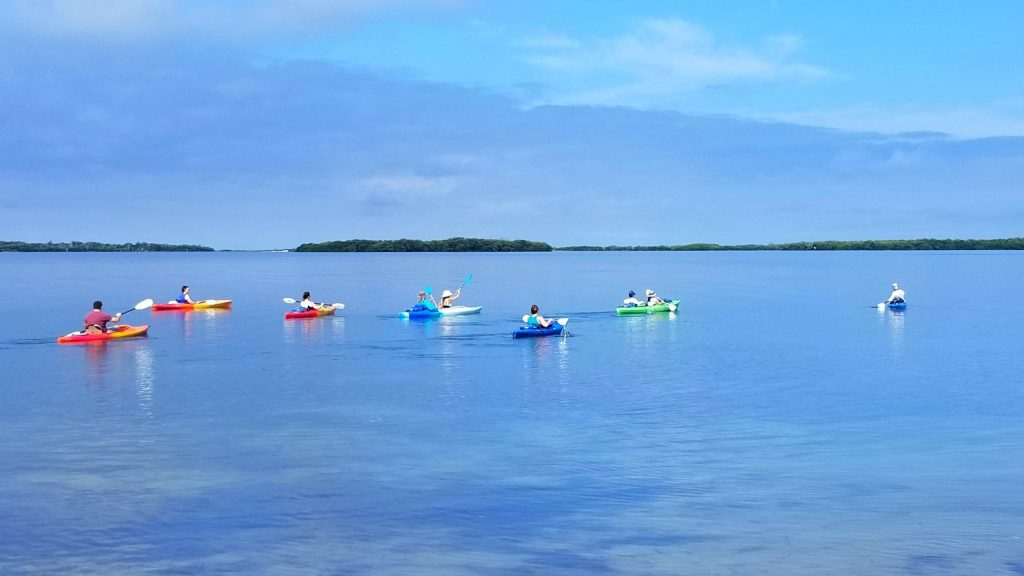 Colorful kayaks scattered on flat water