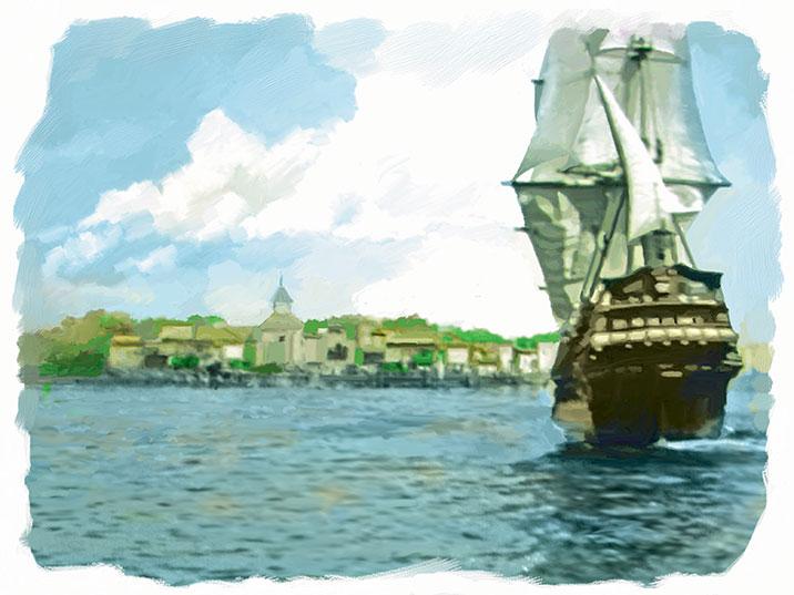 Pirates of the Carolinas Blackbeard The Pirate Sails into Charleston Harour