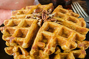 Recipe: Sweet Potato Waffles with Toasted Pecans