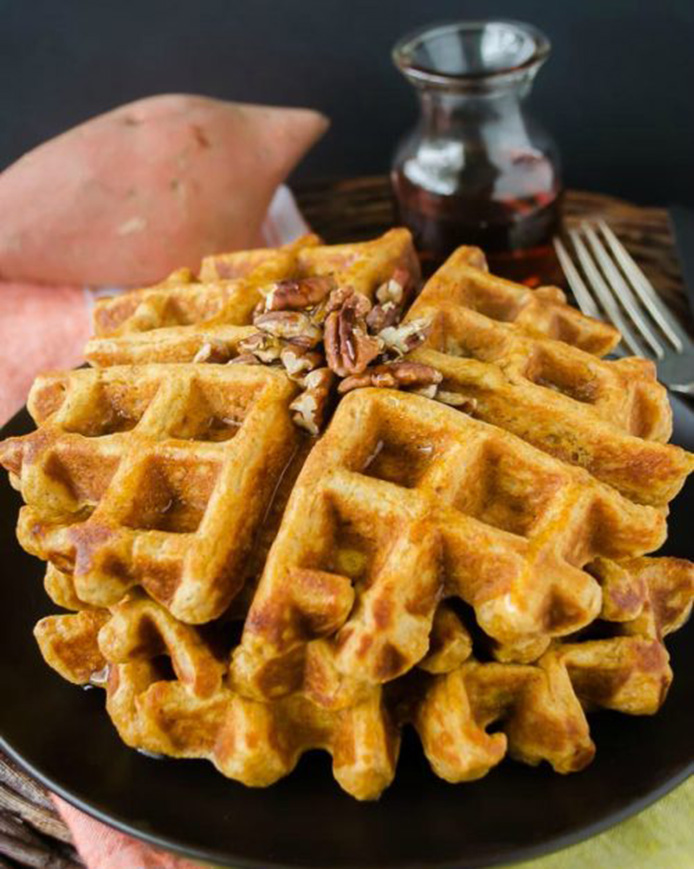 Sweet Potato Waffles with Toasted Pecans