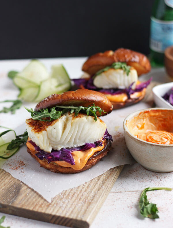 Blackened Fish Burger with Sriracha Mayo