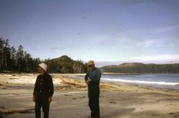 This image was flipped when scanned. It always looked familiar but not right. When the image is flipped horizontally it becomes clear. Experiment Bight, eastern end, near where the trail to Nells Bight exits onto the beach. Sand Neck visible in the distance on the left and the Cape to the right (in the corrected image). Bill Hill blue shirt.