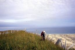 Unknown person at the Sand Neck. Looking north towards Experiment Bight.