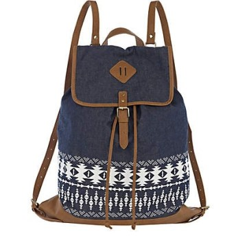 denim leather tribal backpack