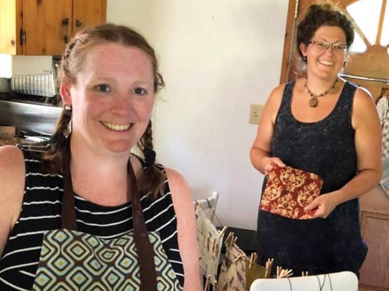 Kala and Kylee making Vancouver Island handmade Beeswax wraps