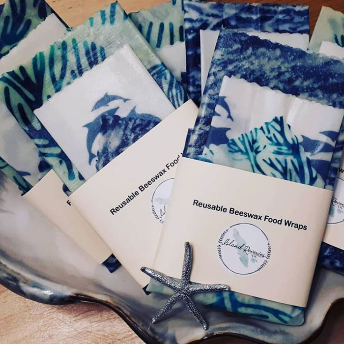Custom branded beeswax wraps for Dolphin Foundation made in Comox by Island Reveries