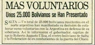 Malvinas 25000 voluntarios de BOLIVIA