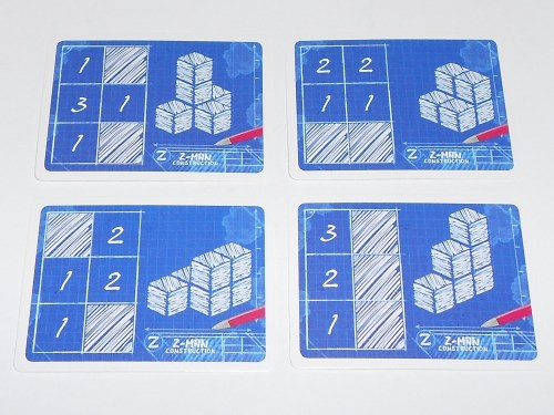 Various blueprint cards, each with a unique building planning