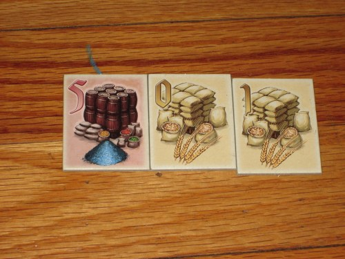 Each turn, a player auctions one to three tiles from the bag. This player...might have wanted to stop at the red 5.