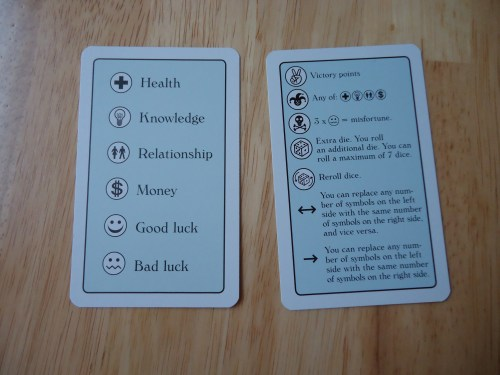 The symbol reference cards, front and back